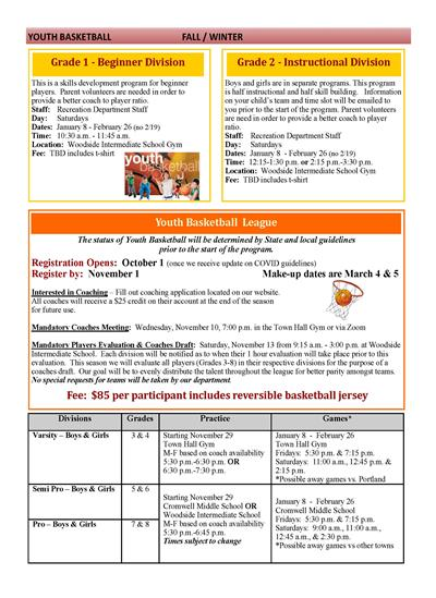 Cromwell Recreation Activity Details
